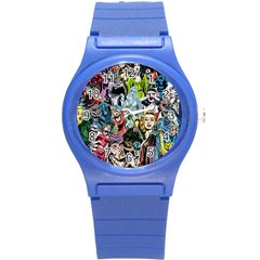 Vintage Horror Collage Pattern Round Plastic Sport Watch (s) by BangZart