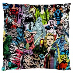 Vintage Horror Collage Pattern Large Cushion Case (two Sides) by BangZart