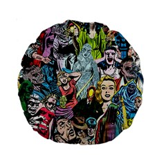Vintage Horror Collage Pattern Standard 15  Premium Round Cushions