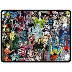 Vintage Horror Collage Pattern Double Sided Fleece Blanket (large)  by BangZart