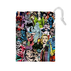 Vintage Horror Collage Pattern Drawstring Pouches (large)  by BangZart