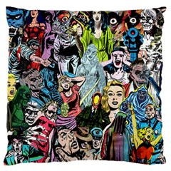 Vintage Horror Collage Pattern Large Flano Cushion Case (two Sides) by BangZart