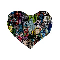 Vintage Horror Collage Pattern Standard 16  Premium Flano Heart Shape Cushions by BangZart