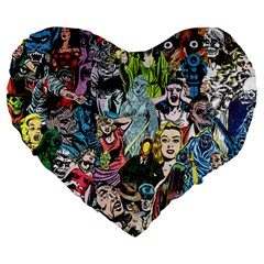 Vintage Horror Collage Pattern Large 19  Premium Flano Heart Shape Cushions by BangZart