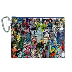 Vintage Horror Collage Pattern Canvas Cosmetic Bag (xl) by BangZart