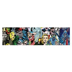 Vintage Horror Collage Pattern Satin Scarf (oblong)