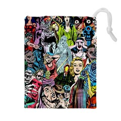 Vintage Horror Collage Pattern Drawstring Pouches (extra Large)