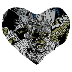 The Monster Squad Large 19  Premium Flano Heart Shape Cushions by BangZart