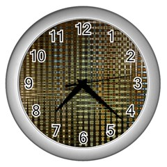 Background Colors Of Green And Gold In A Wave Form Wall Clocks (silver)  by BangZart