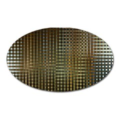 Background Colors Of Green And Gold In A Wave Form Oval Magnet