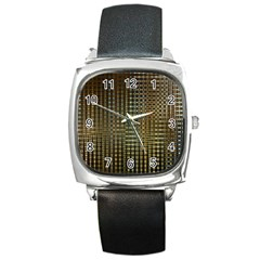 Background Colors Of Green And Gold In A Wave Form Square Metal Watch by BangZart