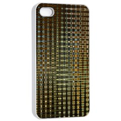 Background Colors Of Green And Gold In A Wave Form Apple Iphone 4/4s Seamless Case (white) by BangZart