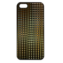 Background Colors Of Green And Gold In A Wave Form Apple Iphone 5 Seamless Case (black)