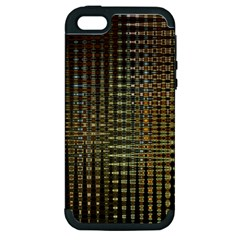 Background Colors Of Green And Gold In A Wave Form Apple Iphone 5 Hardshell Case (pc+silicone) by BangZart