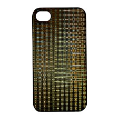 Background Colors Of Green And Gold In A Wave Form Apple Iphone 4/4s Hardshell Case With Stand by BangZart