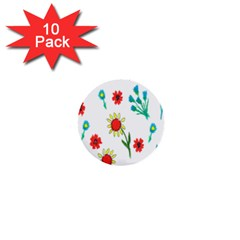 Flowers Fabric Design 1  Mini Buttons (10 Pack)