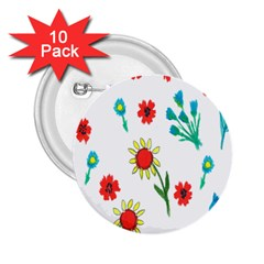 Flowers Fabric Design 2 25  Buttons (10 Pack)  by BangZart