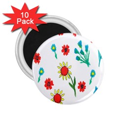 Flowers Fabric Design 2 25  Magnets (10 Pack)  by BangZart