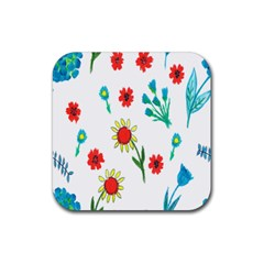 Flowers Fabric Design Rubber Square Coaster (4 Pack)  by BangZart
