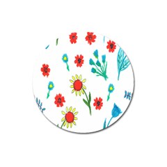Flowers Fabric Design Magnet 3  (round) by BangZart