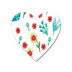 Flowers Fabric Design Heart Magnet by BangZart