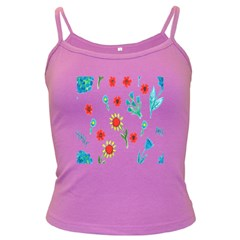 Flowers Fabric Design Dark Spaghetti Tank