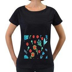 Flowers Fabric Design Women s Loose Fit T Shirt (black) by BangZart