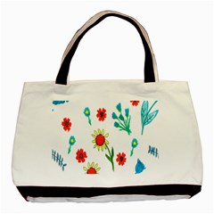 Flowers Fabric Design Basic Tote Bag by BangZart