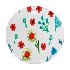 Flowers Fabric Design Round Ornament (two Sides)
