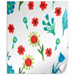 Flowers Fabric Design Canvas 8  X 10  by BangZart