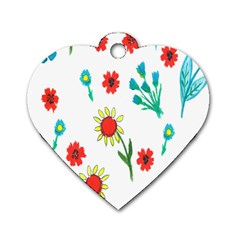 Flowers Fabric Design Dog Tag Heart (two Sides) by BangZart