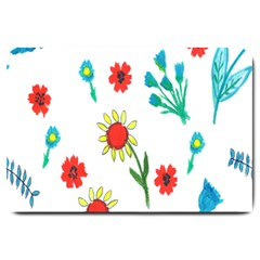 Flowers Fabric Design Large Doormat