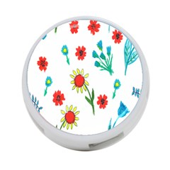 Flowers Fabric Design 4 Port Usb Hub (one Side)