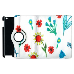 Flowers Fabric Design Apple Ipad 3/4 Flip 360 Case by BangZart