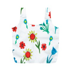 Flowers Fabric Design Full Print Recycle Bags (M)