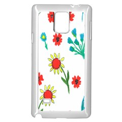 Flowers Fabric Design Samsung Galaxy Note 4 Case (white) by BangZart