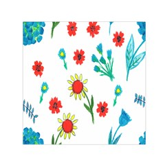 Flowers Fabric Design Small Satin Scarf (square) by BangZart