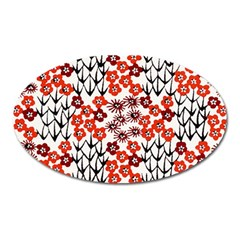Simple Japanese Patterns Oval Magnet