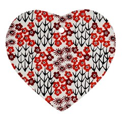 Simple Japanese Patterns Heart Ornament (two Sides) by BangZart