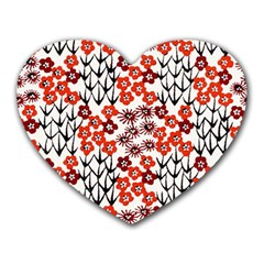Simple Japanese Patterns Heart Mousepads