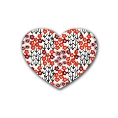 Simple Japanese Patterns Rubber Coaster (heart)