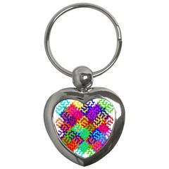 3d Fsm Tessellation Pattern Key Chains (heart)  by BangZart