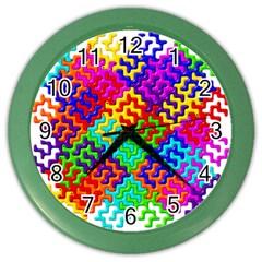 3d Fsm Tessellation Pattern Color Wall Clocks