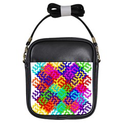 3d Fsm Tessellation Pattern Girls Sling Bags by BangZart
