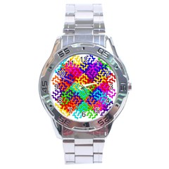 3d Fsm Tessellation Pattern Stainless Steel Analogue Watch by BangZart
