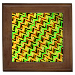 Green Red Brown Zig Zag Background Framed Tiles by BangZart