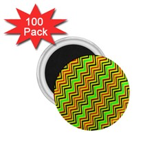 Green Red Brown Zig Zag Background 1 75  Magnets (100 Pack)  by BangZart