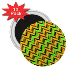 Green Red Brown Zig Zag Background 2 25  Magnets (10 Pack)