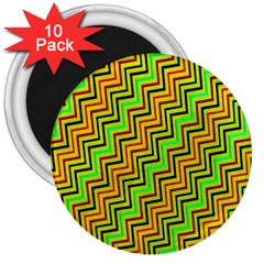 Green Red Brown Zig Zag Background 3  Magnets (10 Pack)  by BangZart
