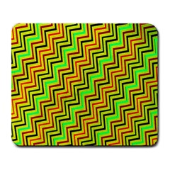 Green Red Brown Zig Zag Background Large Mousepads by BangZart